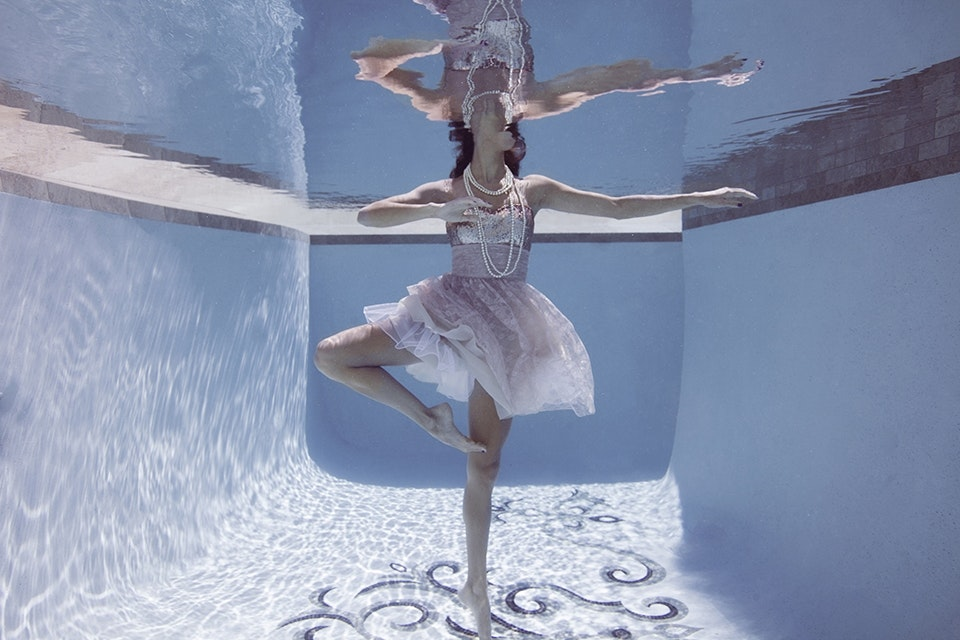 SARA WILLIAMS IS CAPTURED DOING A BALLET POSE AROUND THE ITALIAN GLASS TILE IN COSTA MESA, CALIF. (PHOTOGRAPH BY © JENNY BAUMERT 2013.)