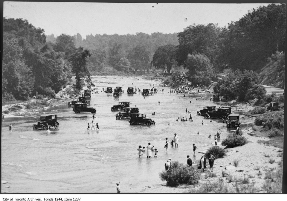 Bathers and cars in Humber River. - 1922