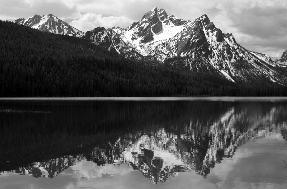 In_tribute_to_Ansel_Adams_McGown_Peak_reflected_on_Stanley_Lake,_Idaho_in_black_and_white