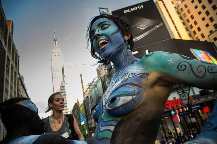 New York City Hosts Body Art March Bird In Flight