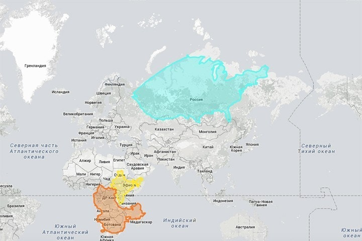 Infographic of the Day: The True Size of Countries on the Map — Bird ...