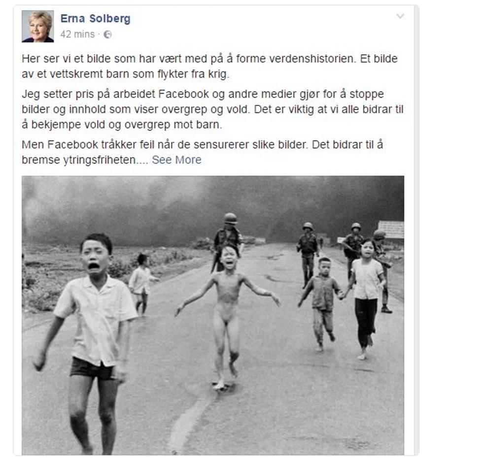 Крупнейшая норвежская газета обвинила социальная сеть Facebook вцензуре