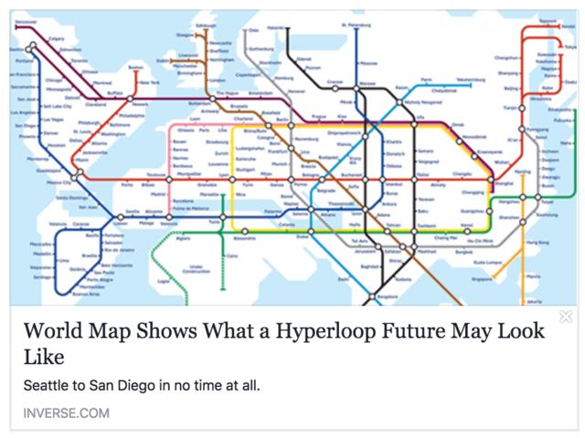 Печатное издание выпустило карту глобального метро Hyperloop, которая оказалась фэйком