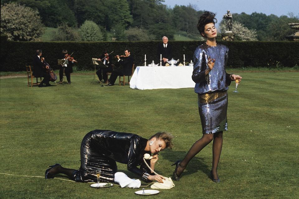 Denis Piel. Joan Severance & Nancy Donahue. A World Apart -1, Castle Howard. Yorkshire. UK. Vogue USA. 1982