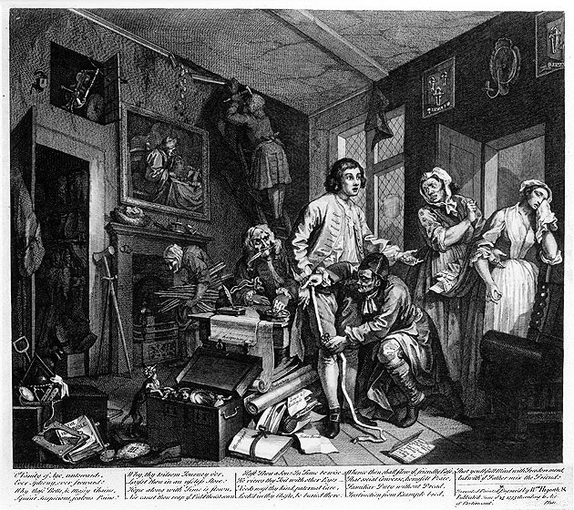 William_Hogarth_-_A_Rake's_Progress_-_Plate_1_-_The_Young_Heir_Takes_Possession_Of_The_Miser's_Effects