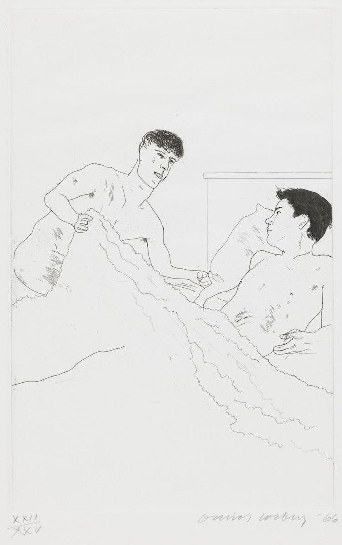According to Prescriptions of Ancient Magicians 1966 by David Hockney born 1937