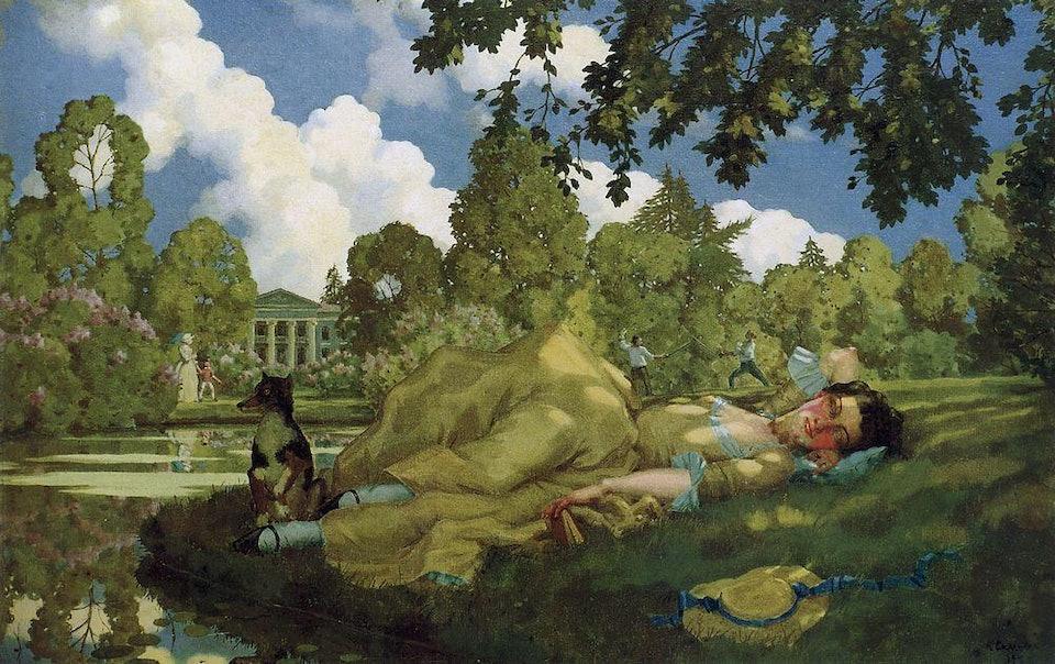 Спящая молодая женщина в парке