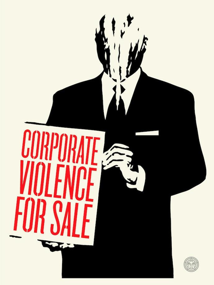 Шепард-Фэйри,-Корпоративное-насилие-на-продажу,-2011,-Шелкография-на-бумаге