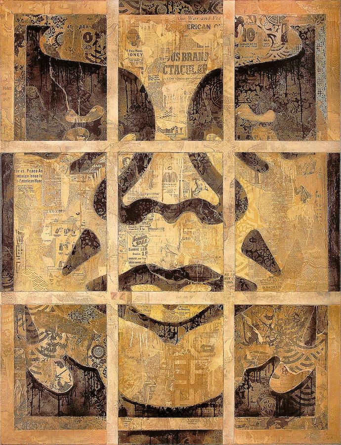 Шепард-Фэйри,-Повторные-работы-(Идол),-2011.-Смешанная-техника-(трафарет,-шелкография-и-коллаж)-на-холсте