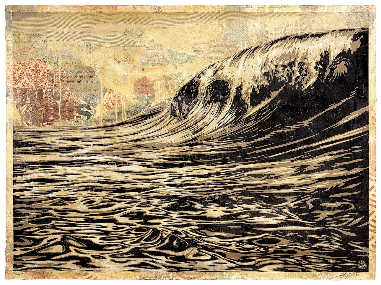 Шепард-Фэйри,-Темная-волна,-2010.-Шелкография-и-коллаж-в-смешанной-технике-на-бумаге,-раскрашенная-вручную-основа