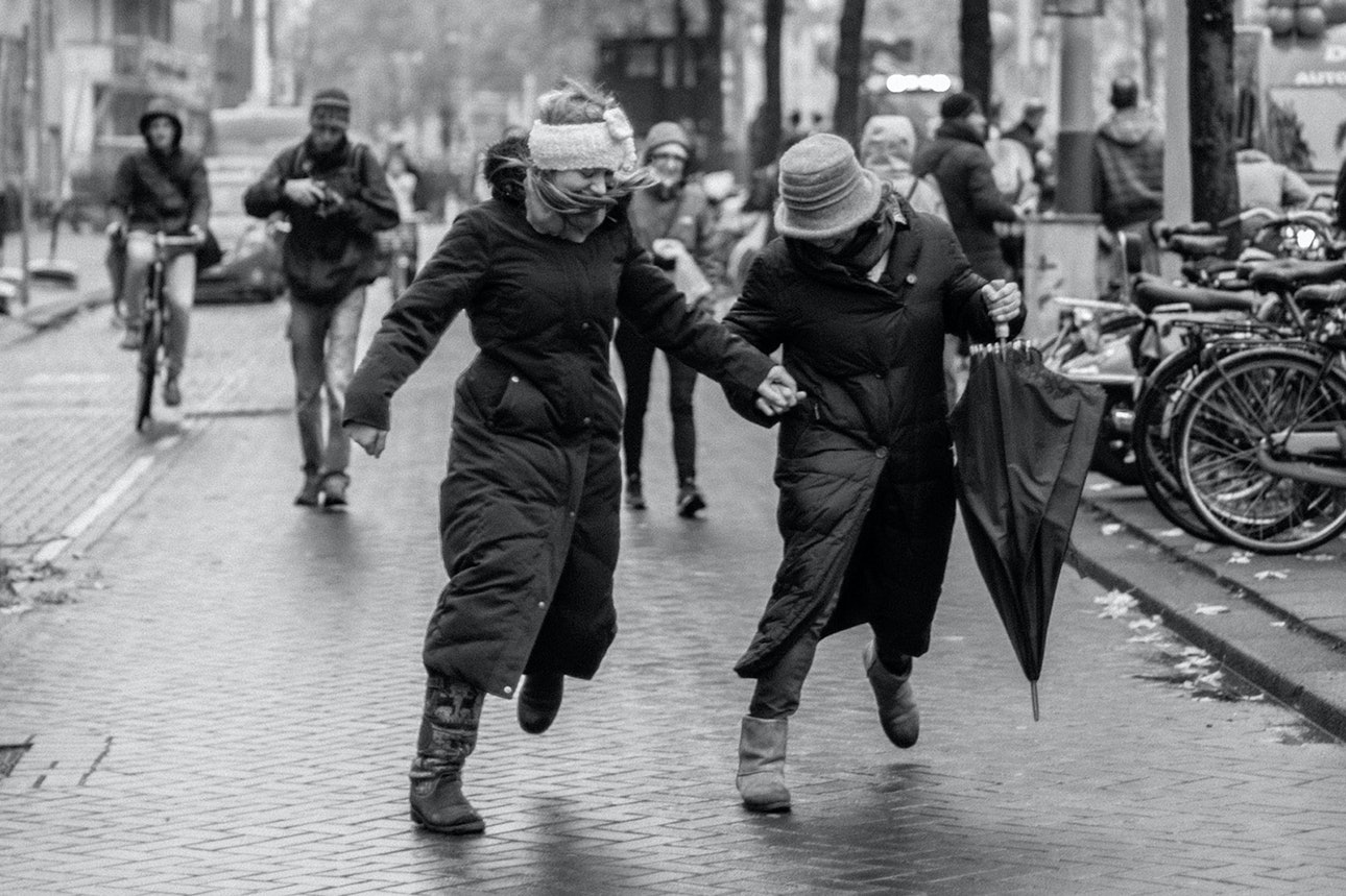 Dancing women on the street.Amsterdam