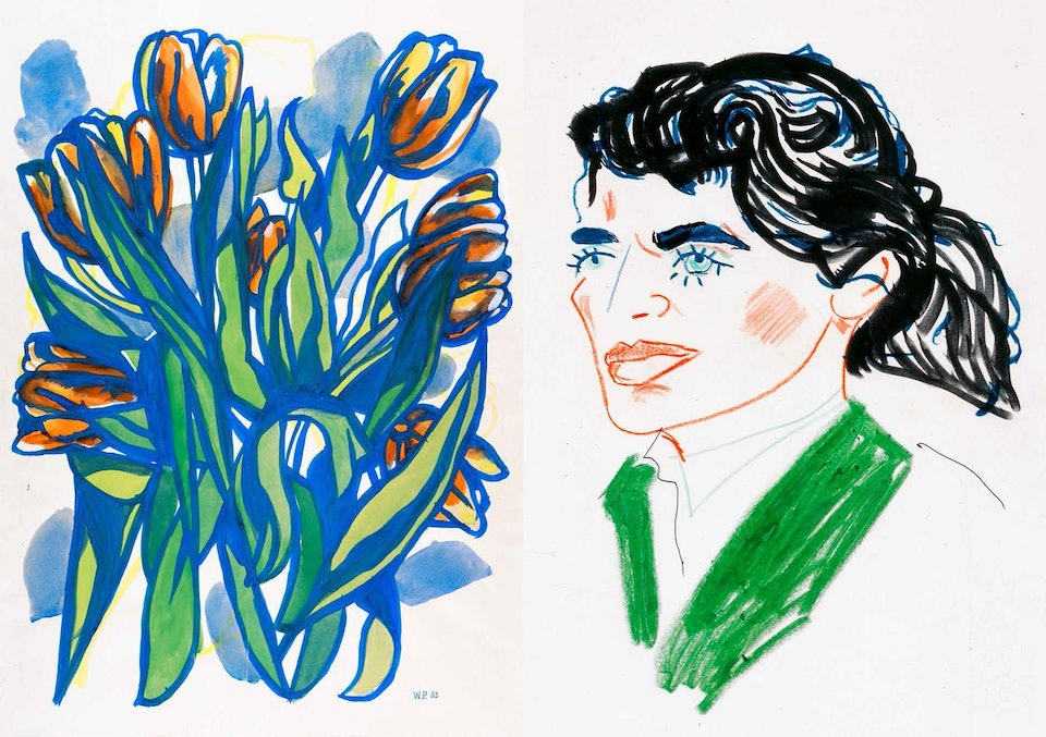 1983, gouache on paper. 1986, wax crayon on paper. Walter Pfeiffer. Courtesy of Edition Patrick Frey
