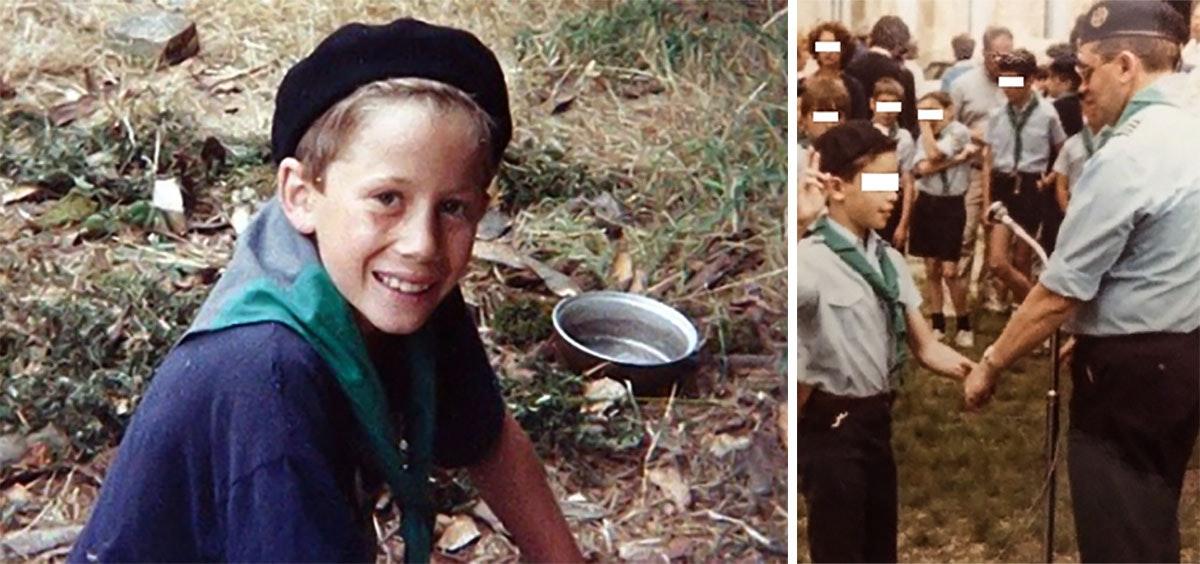 Фотография слева: Тони, одна из предполагаемых жертв Барнара Прейна. Фотография справа: священник Бернар Прейна — глава скаутской организации, 1985 год