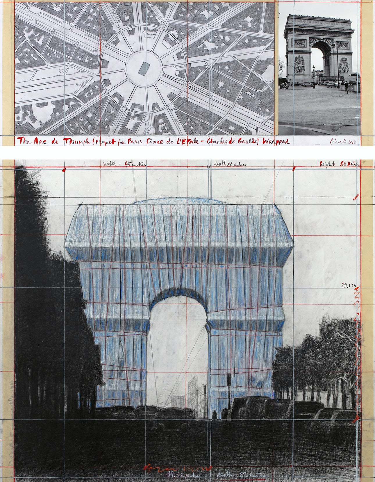 L'Arc de Triomphe, Wrapped - The Arc de Triumph (Project for Paris, Place de l'Etoile – Charles de Gaulle) Wrapped