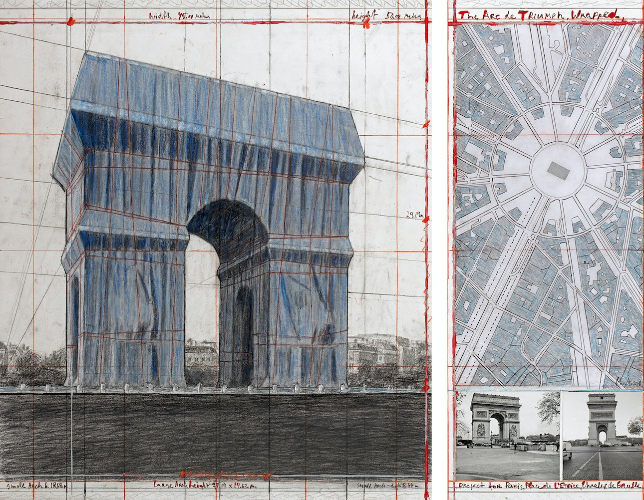L'Arc de Triomphe, Wrapped - The Arc de Triumph, Wrapped, Project for Paris, Place de l'Etoile, Charles de Gaulle