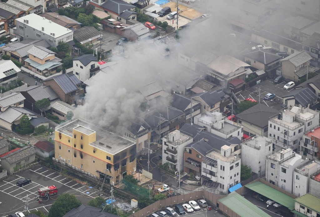 Arson of Animation Company in Kyoto, Japan