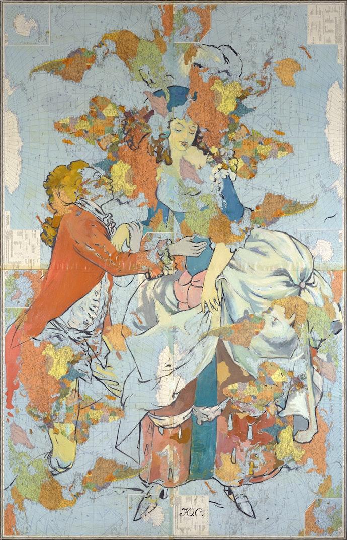 Галантная пара-2. Офсетная ламинированная карта на холсте, масло. 1991. Коллекция НХМУ