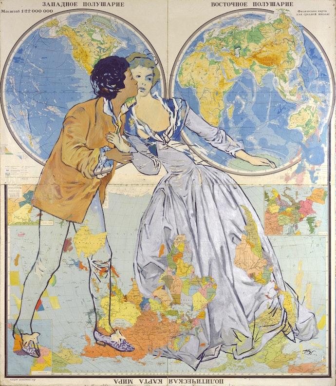 Поцелуй украдкой. Офсетная ламинированная карта на холсте, масло. 1991