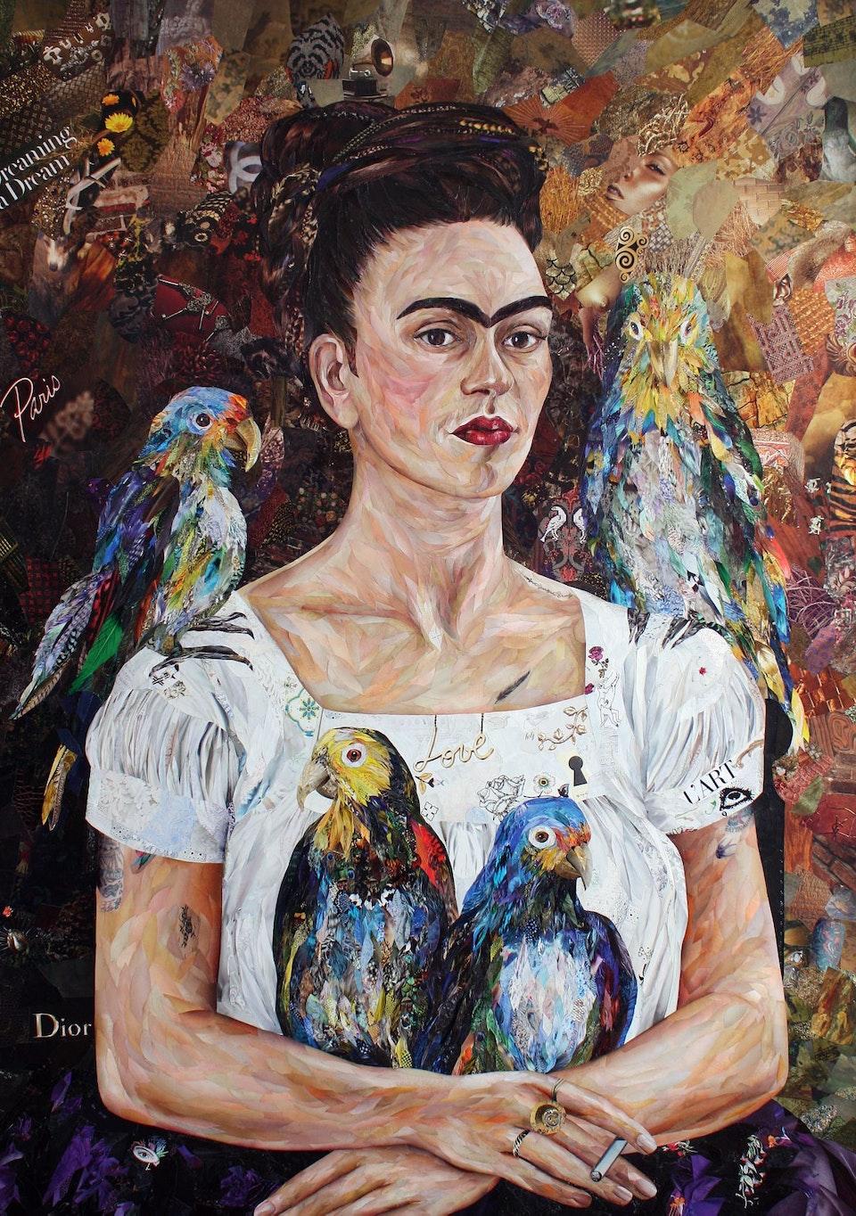 Frida with parrots 100x140sm_m