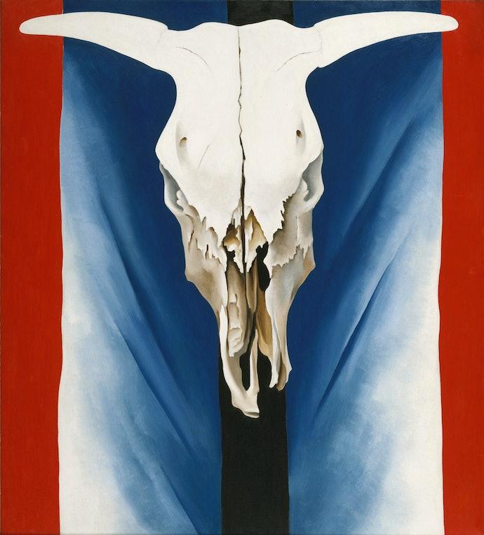 Череп коровы Красный, синий и белый