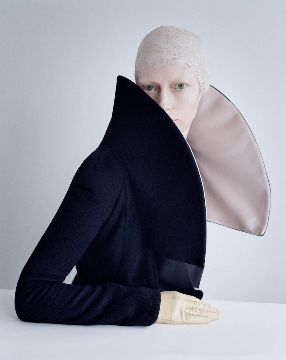 Tilda Swinton in exaggerated collar, Fashion- Giorgio Armani, Reykjavik, Iceland 2011 © Tim Walker Studio, Courtesy Michael Hoppen Gallery
