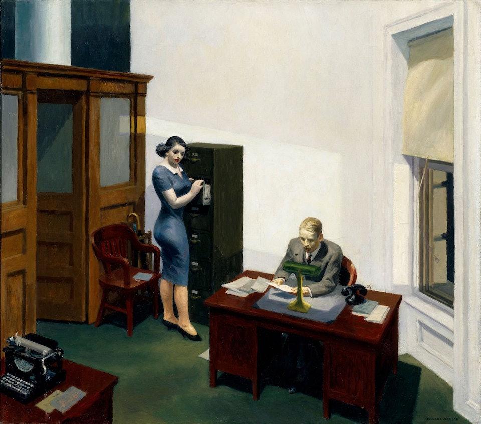 Edward Hopper, Office at night (1940) Walker Art Center Minneapolis, United States