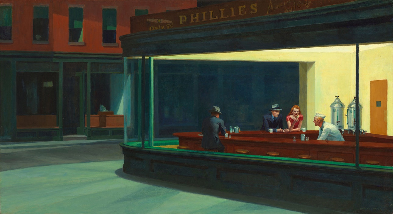 Nighthawks_by_Edward_Hopper_1942 Art Institute of Chicago