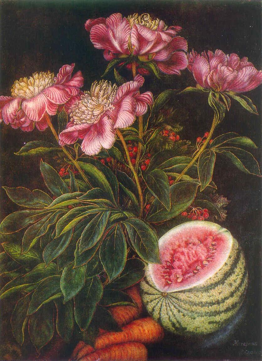 Арбуз, морковь, цветы. 1951