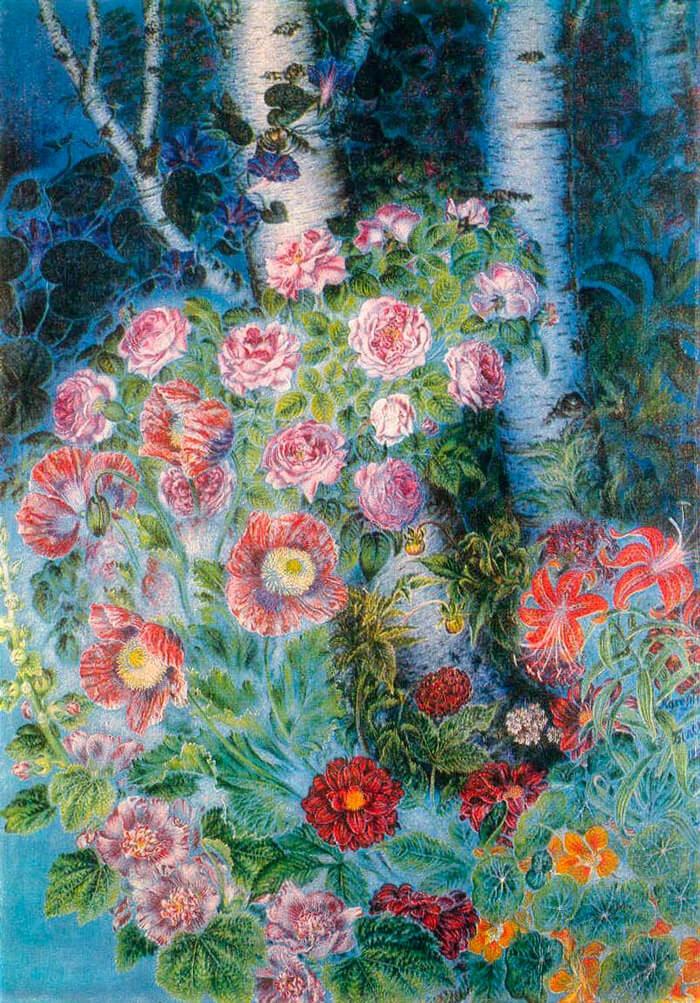 Цветы и березки вечером. 1950