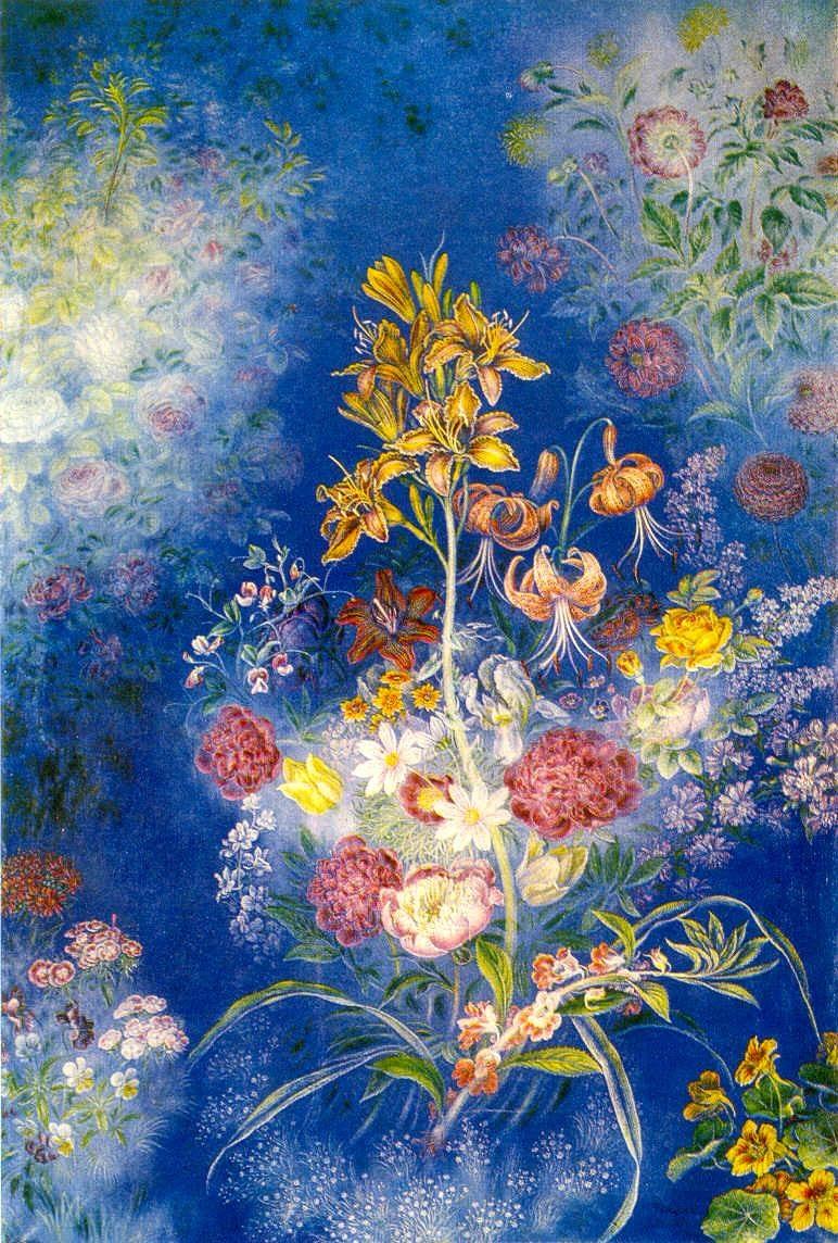 Цветы на голубом фоне. 1942 - 1943