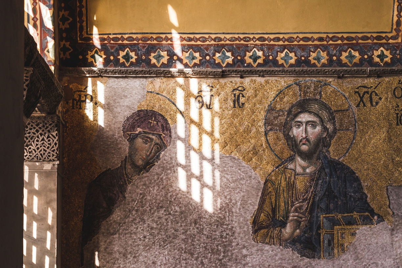 Interior of the Hagia Sophia in Istanbul, Turkey. Mosaics and pa