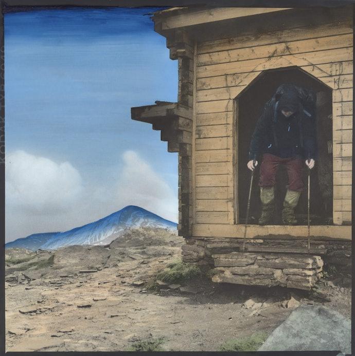 Dmytro_Kupriyan_03_-_Tourist_leaving_the_chapel_on_Mount_pertos