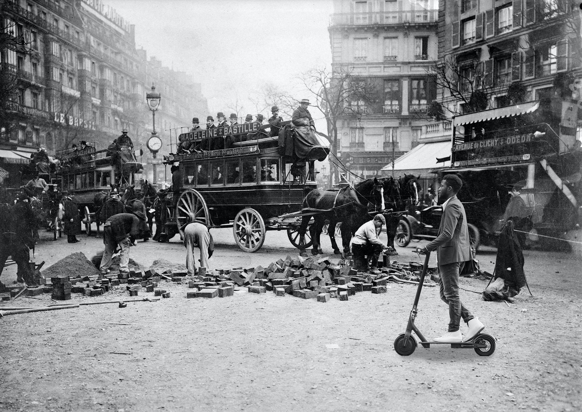 Ремонт дороги электросамокаты Париж