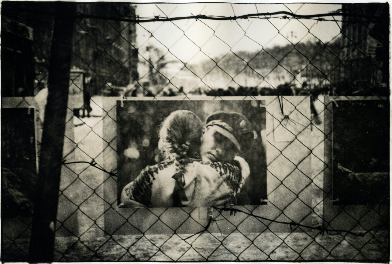 »UKRAINE / Kiev / A picture is hanging on the barricade at Maidan